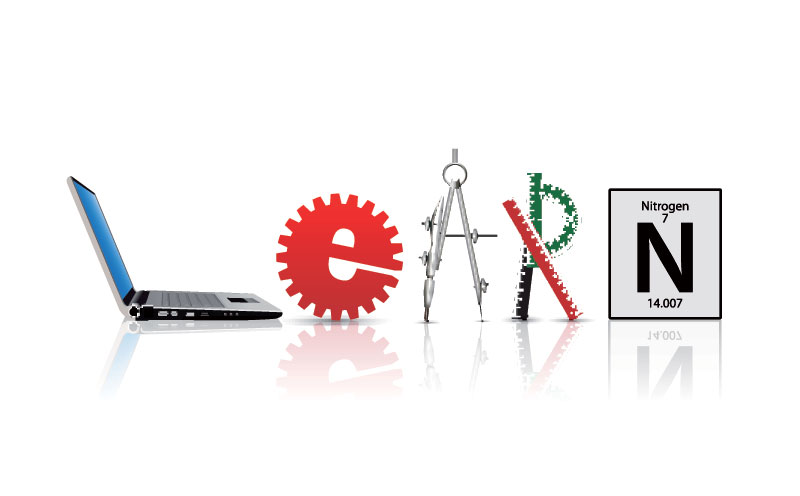 "The word ""LEARN"" represented by a laptop, mechanical gear, compass, rulers and the symbol for Nitrogen. Meant to symbolise the elements of STEAM (Science, Technology, Engineering, Art and Mathematics."