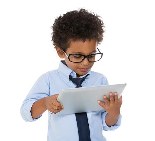 School boy with glasses learning on a tablet.