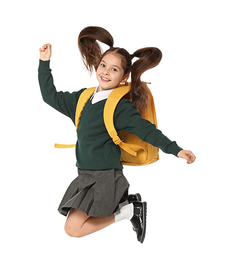 School girl wearing uniform and backpack jumping with joy.